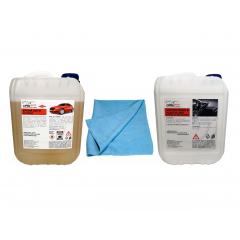 Pachet spuma auto activa profesionala Voulis 5kg + laveta microfibra Voulis Pezeta 65x40cm + silicon profesional pentru bord si plastic mat Crol 5L